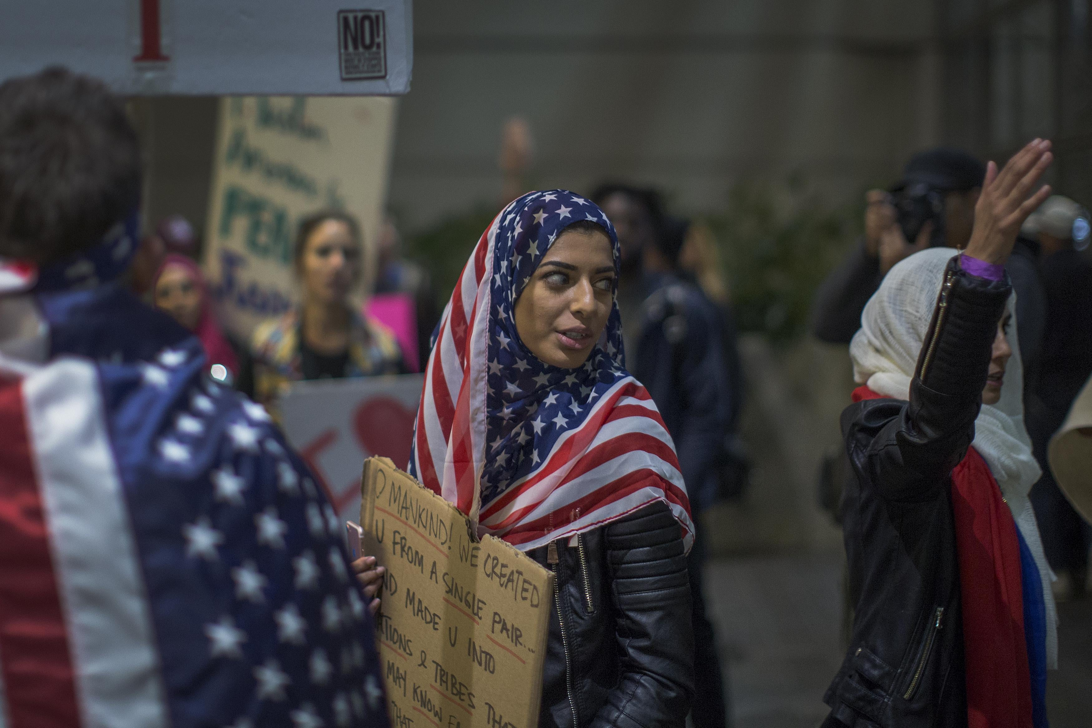 Demonstrators at Los Angeles International Airport march in opposition to the first Muslim Ban in February.