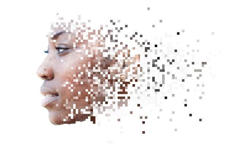 A woman's face dissolves into pixels.