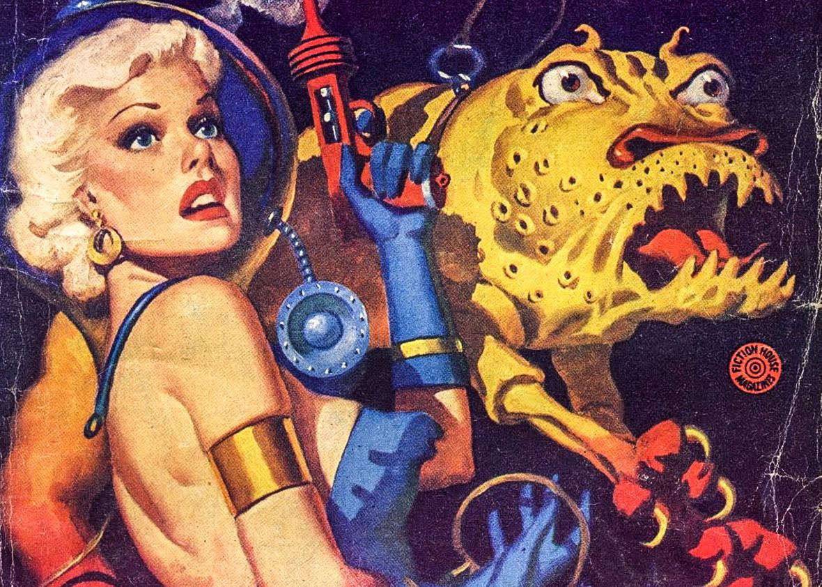 Cover detail of Planet Stories, July 1952.