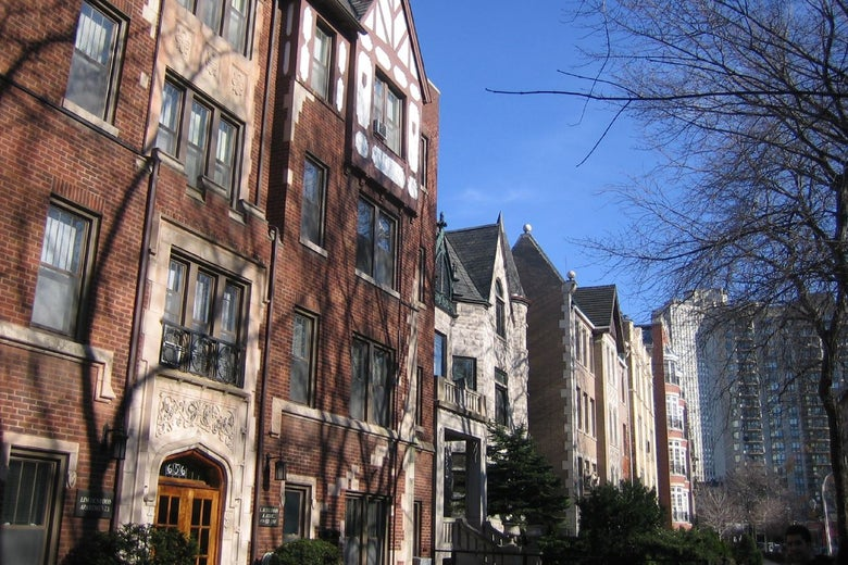 A street of older buildings in Lincoln Park, Chicago, 2006.