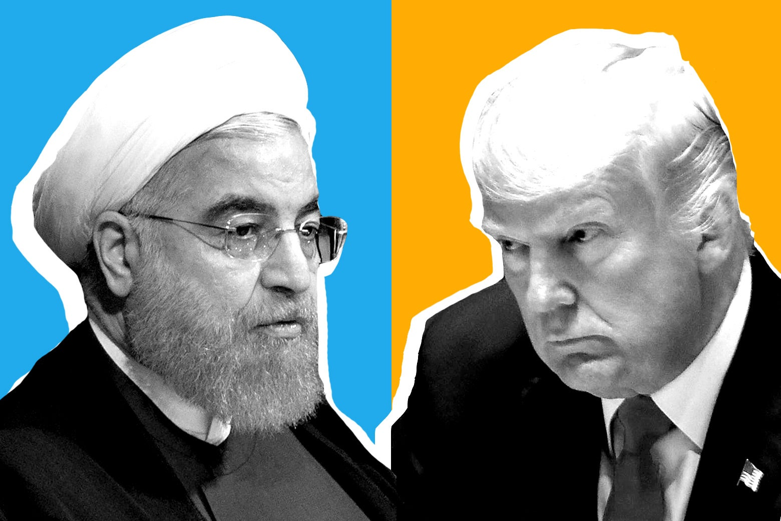 Hassan Rouhani and Donald Trump.