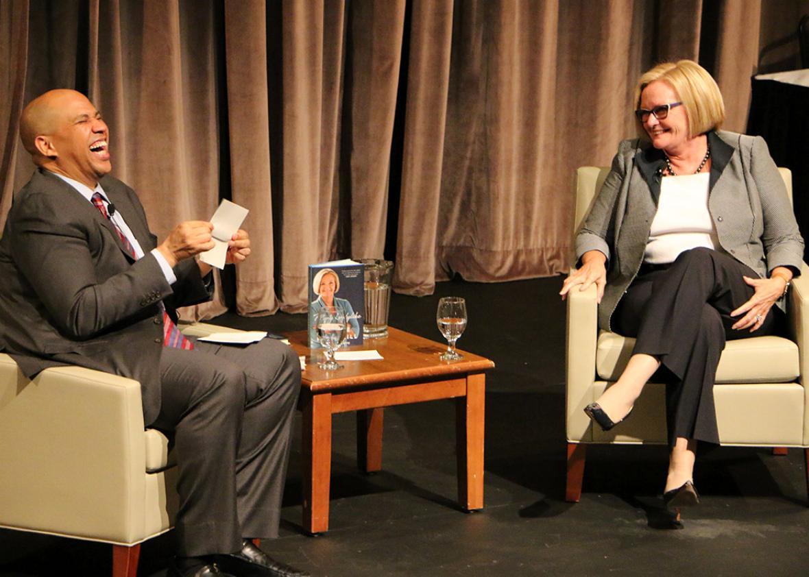 Sen. Cory Booker and Sen. Claire McCaskill on Sept. 9, 2015.