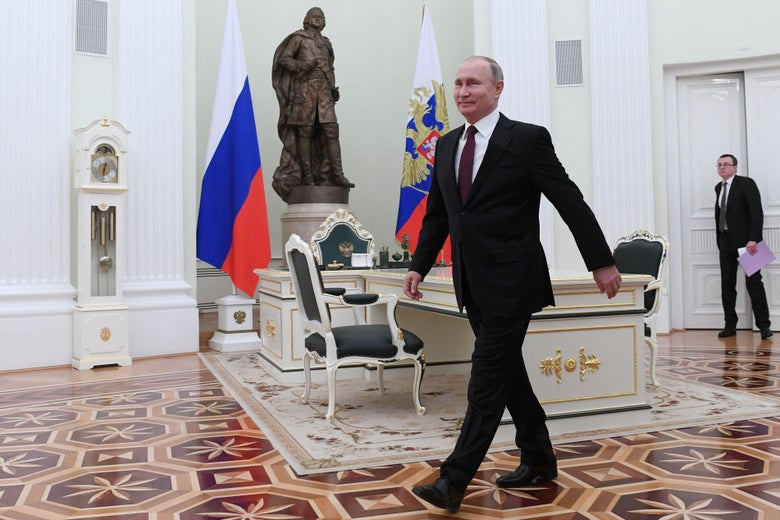 Russian President Vladimir Putin arrives for a meeting with his Belarus counterpart at the Kremlin, in Moscow, on December 29, 2018.