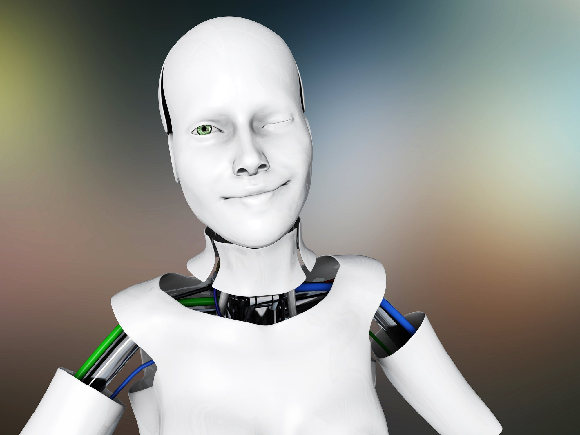 A winking robot. Chatbots that imitate humans a little too well are creepy.