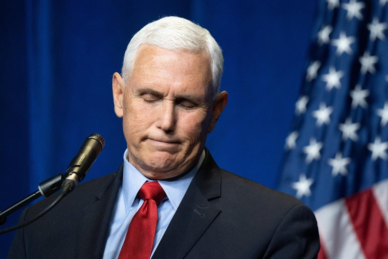 Former Vice President Mike Pence speaks to a crowd during an event sponsored by the Palmetto Family organization on April 29, 2021 in Columbia, South Carolina.
