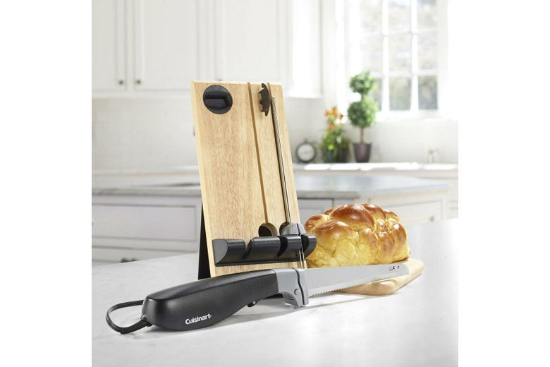 Cuisinart CEK-40 Electric Knife on a counter with a loaf of challah.