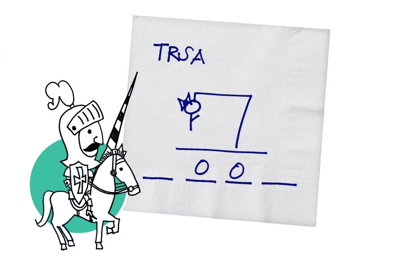 A Hangman drawing on a napkin being defended by a knight.