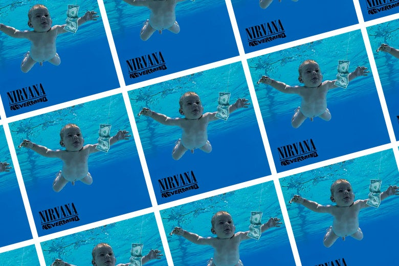 Tiled image of Nirvana's Nevermind album cover