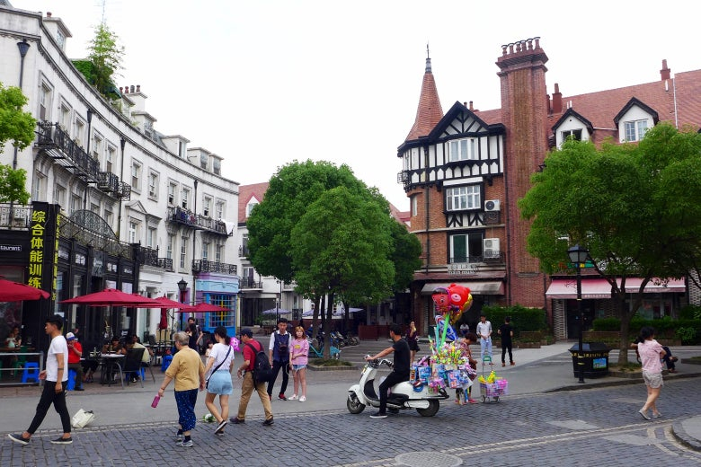 A square in Thames Town.
