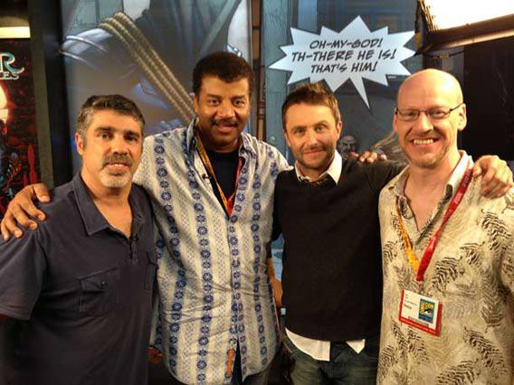 Gary Dell'Abate, Neil Tyson, Chris Hardwick, and Phil Plait at San Diego Comic Con