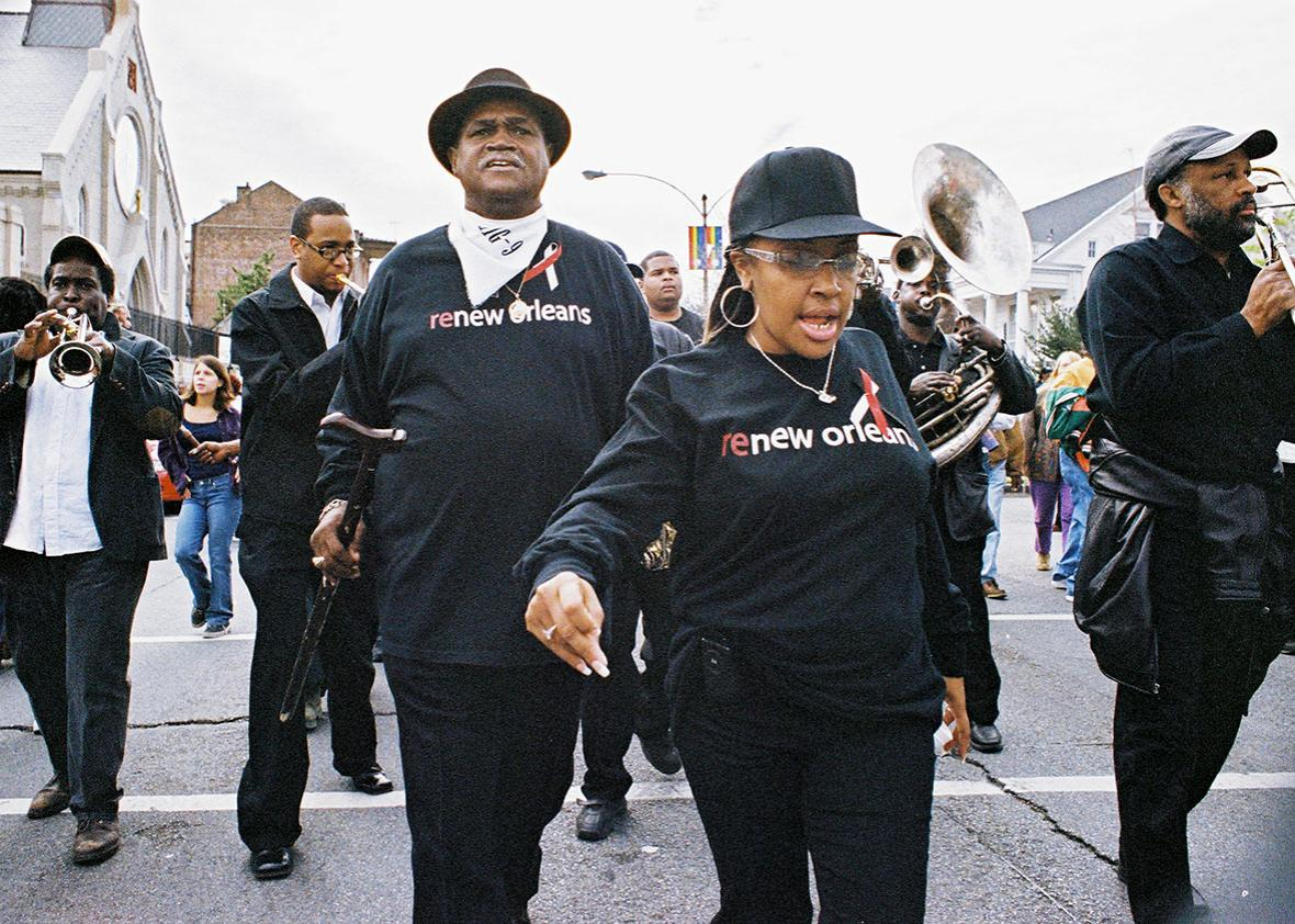Ronald Lewis on Rampart Street near the beginning of the parade ,Ronald Lewis on Rampart Street near the beginning of the parade on January 15, 2006, ahead of a brass band led by Charles Joseph.
