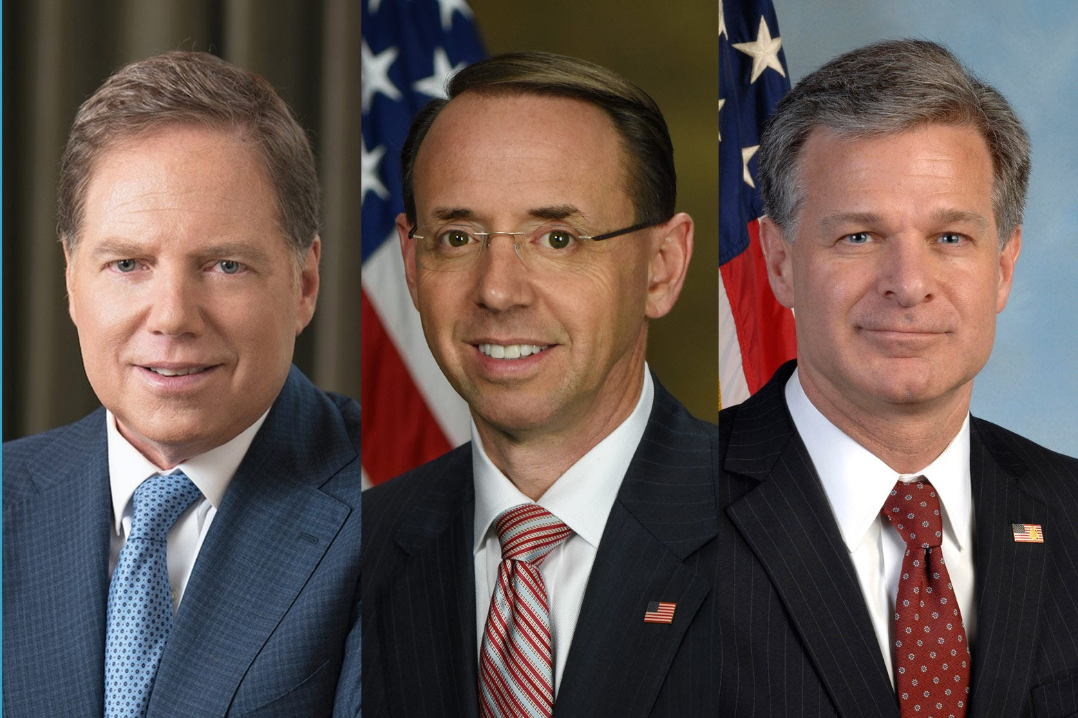 Geoffrey Berman, Rod Rosenstein, and Christopher Wray.
