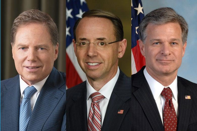 Geoffrey Berman, Rod Rosenstein, and Christopher Wray.