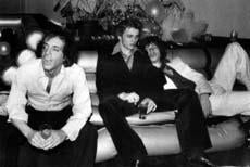 Steve Rubell with Mikhail Baryshnikov and Mick Jagger