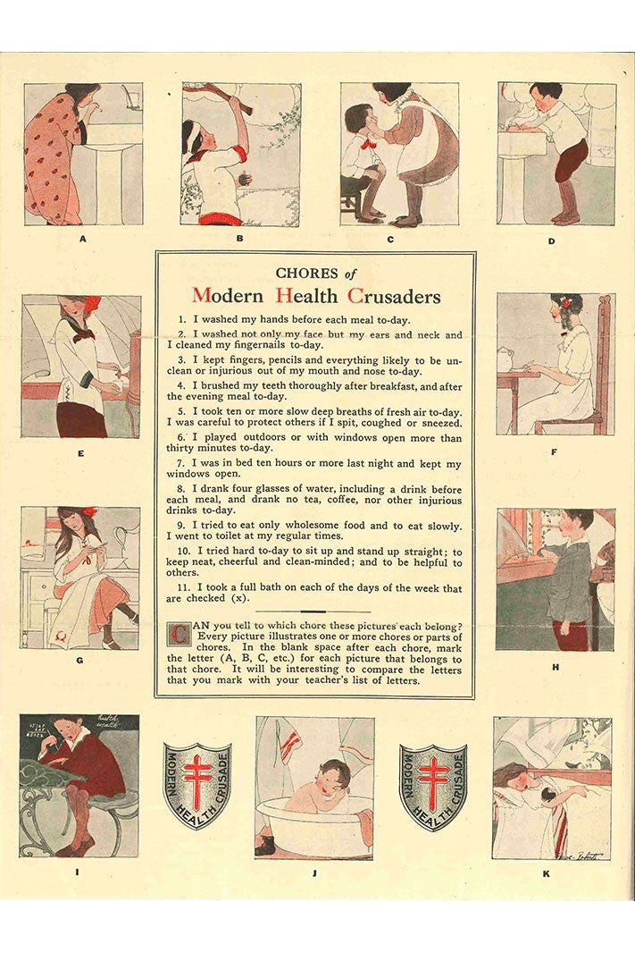 An old poster displaying a list of healthy habits, along with illustrations surrounding the border