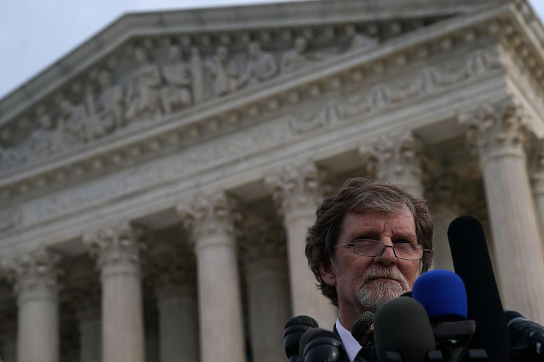Masterpiece Cakeshop owner Jack Phillips speaks into microphones in front of the U.S. Supreme Court December 5, 2017 in Washington, DC.
