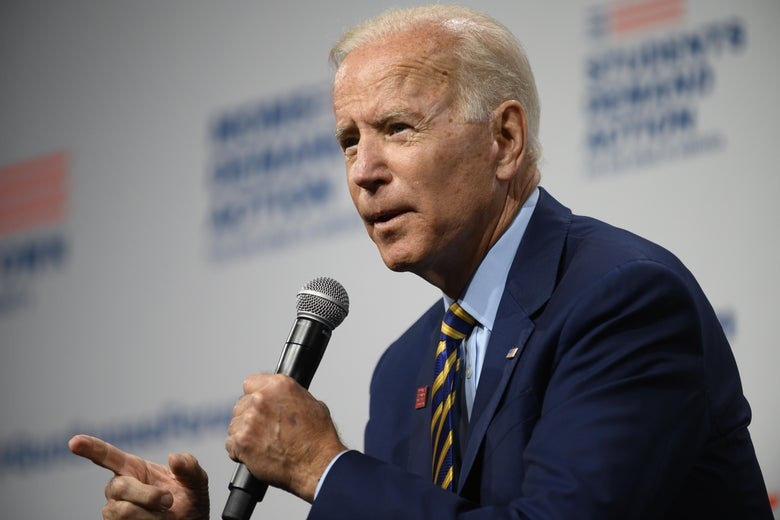 Democratic presidential candidate and former Vice President Joe Biden speaks on stage during a forum on gun safety at the Iowa Events Center on August 10, 2019 in Des Moines, Iowa.