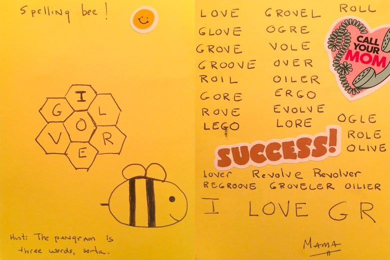 A homemade version of the NYT Spelling Bee, drawn on paper with the shapes and the words, along with a bee.