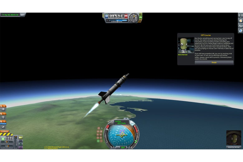 Baby's Second Munar, now with wings, is about 16,000m in the air when the tutorial says the ship has gone off-course.