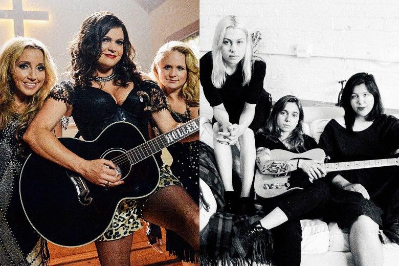 Ashley Monroe, Anagleena Presley and Miranda Lambert (Pistol Annies) and Phoebe Bridgers, Julien Baker, Lucy Dacus (boygenius)