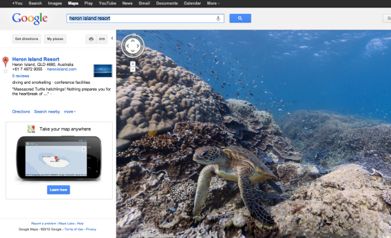 Google Street View map of Great Barrier Reef