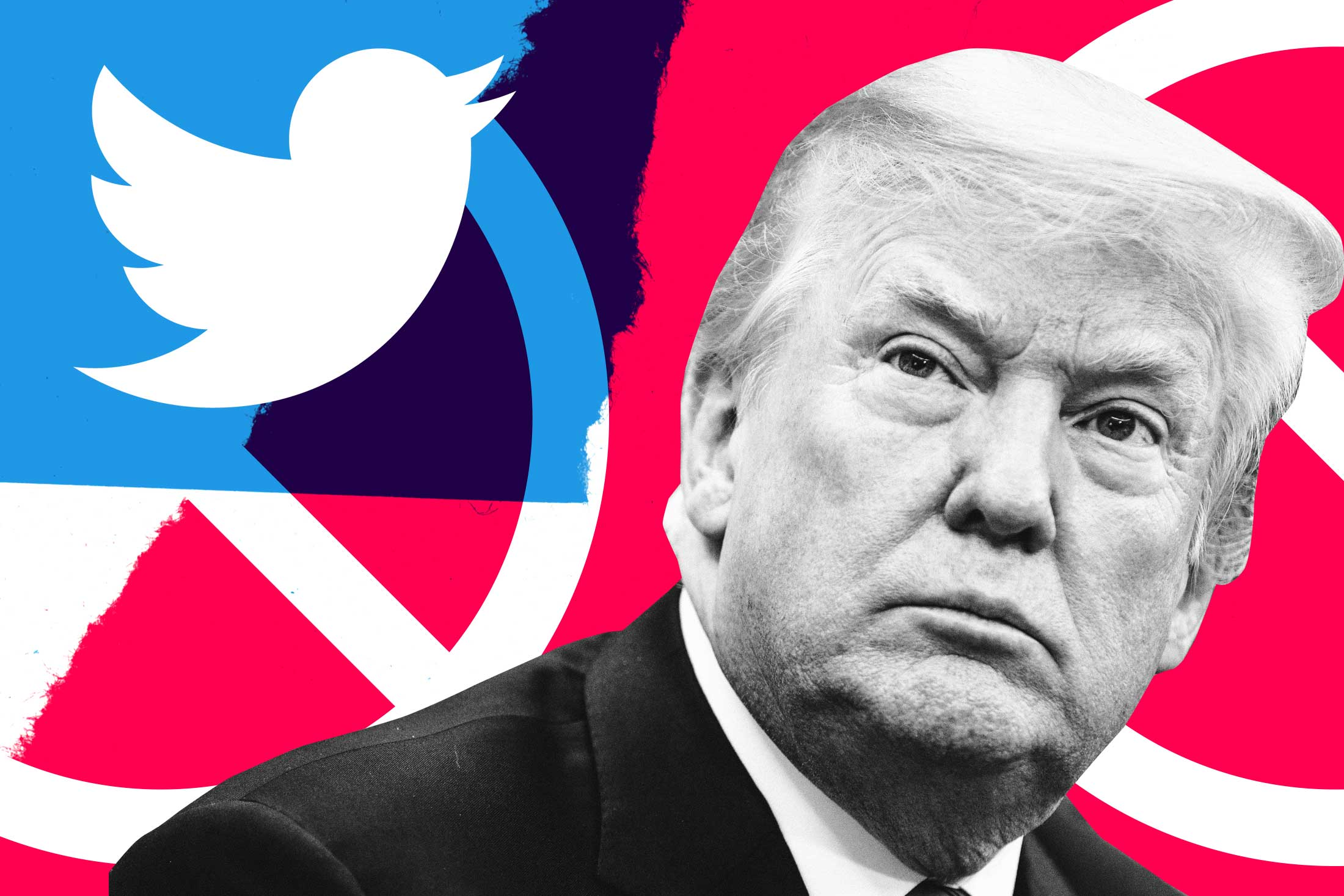 Donald Trump, no signs, Twitter logo.