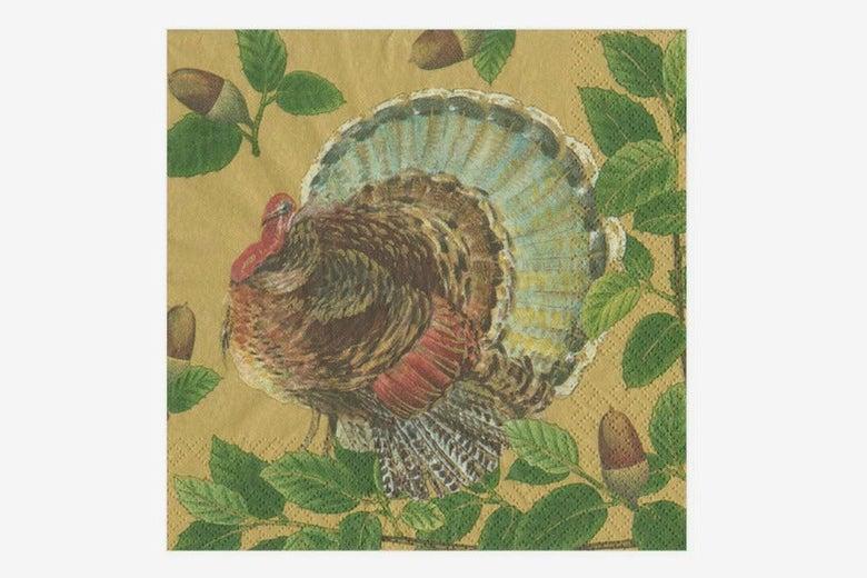 Caspari Turkey and Acorns Luncheon Napkins in Gold