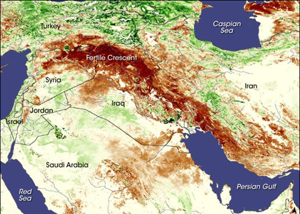 Map showing droughts in Syria and Iraq.