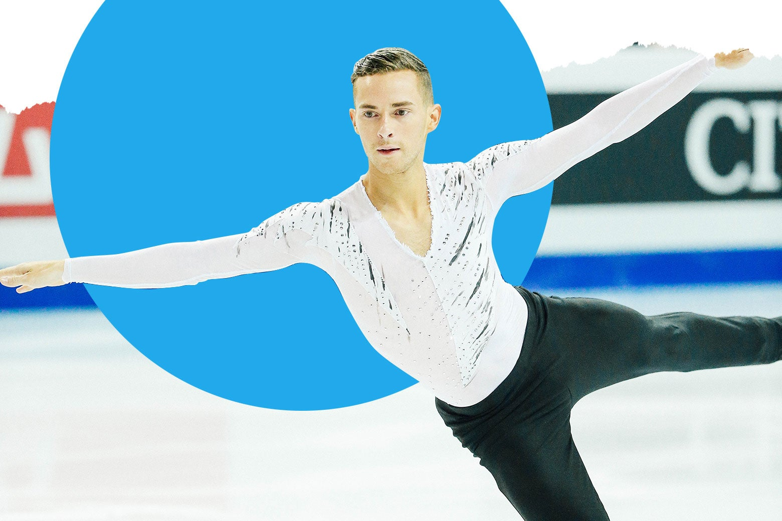 Adam Rippon skating in a long-sleeve white mesh sparkly top.