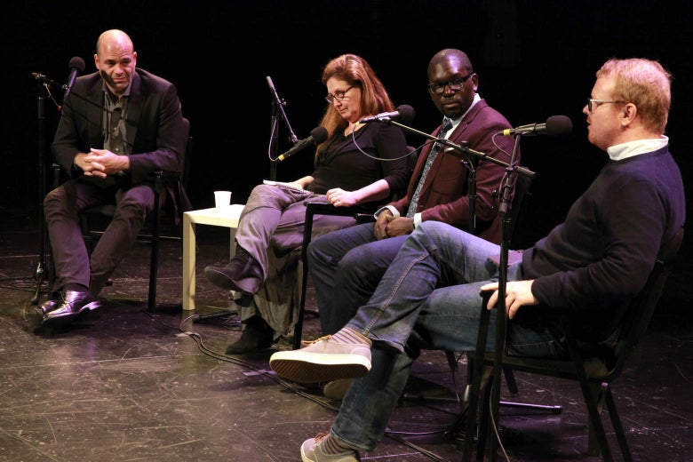 Mike Pesca, Dahlia Lithwick, Jamelle Bouie, and Jim Newell sit onstage.