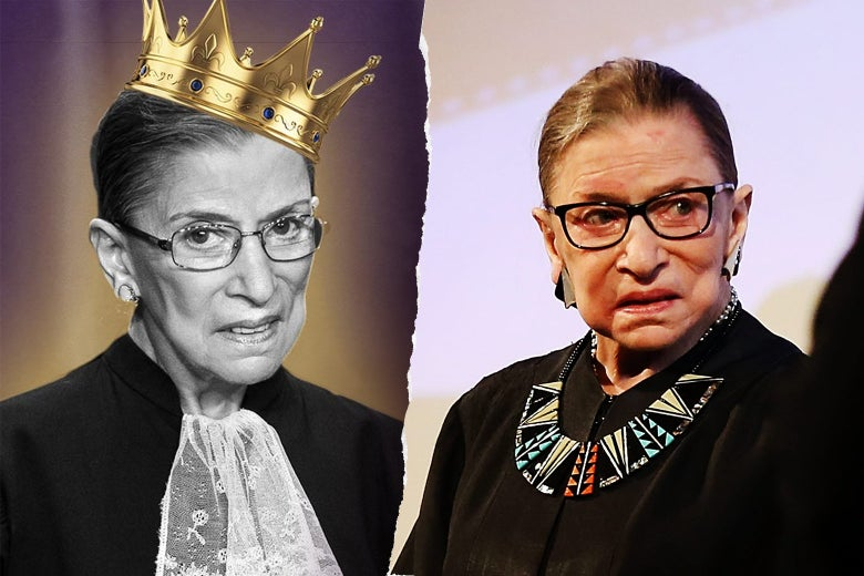 At left, Ruth Bader Ginsburg with a Biggie-style crown. At right, RBG speaks at an event.