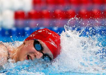 Katie Ledecky of the United States competes in the final heat for the Women's 800 Meter Freestyle during Day Seven of the 2016 U.S. Olympic Team Swimming Trials at CenturyLink Center on July 2, 2016 in Omaha, Nebraska.