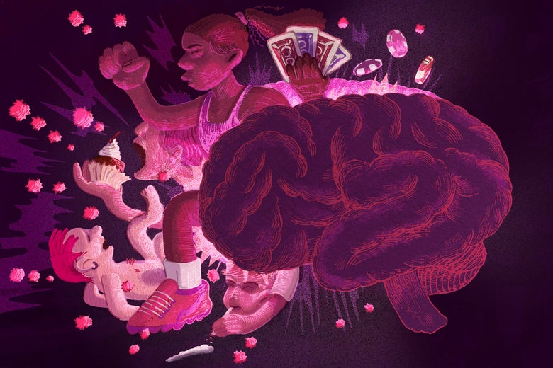 A brain exploding in a magic cloud of drugs, sex, and gambling.