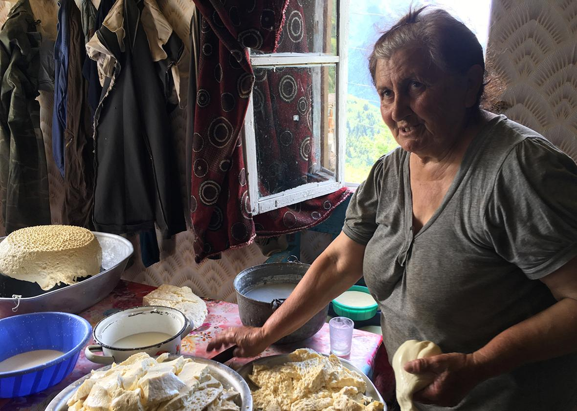 Maro serves lunch at her home in Kichkuldash, Georgia.