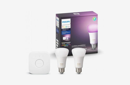 Philips Hue White and Color Ambiance A19 10W Equivalent LED Smart Light Bulb Starter Kit.