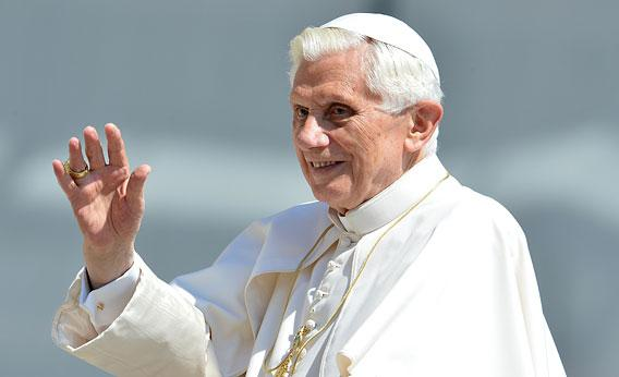 Pope Benedict XVI waves as he arrives for his weekly general audience on May 30, 2012 at St Peter's square at The Vatican.