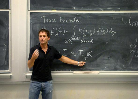 Mathematician Edward Frenkel during a lecture on trace formulas at the University of California, Berkeley, September 2010.