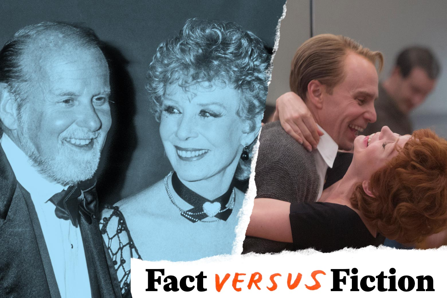 The real Bob Fosse and Gwen Verdon, and Sam Rockwell as Fosse and Michelle Williams as Verdon in Fosse/Verdon.