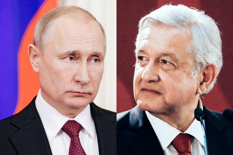 Russian President Vladimir Putin and Mexican President Andrés Manuel López Obrador.