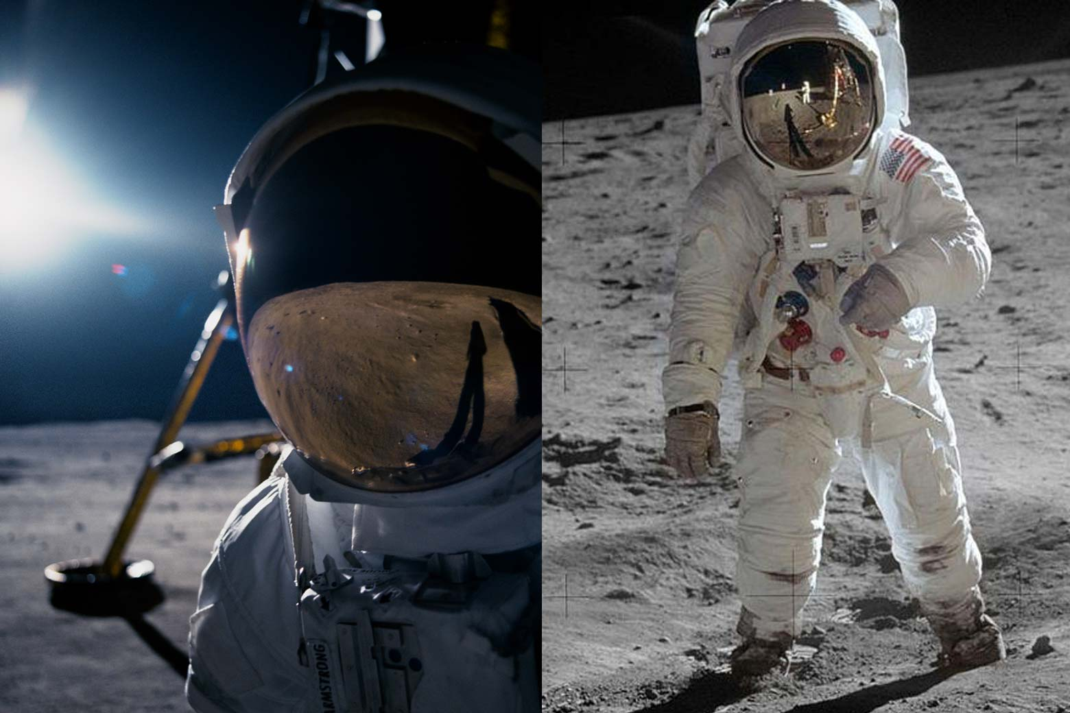 Side-by-side images of Hollywood's version of the moon landing, and also images from the moon landing.