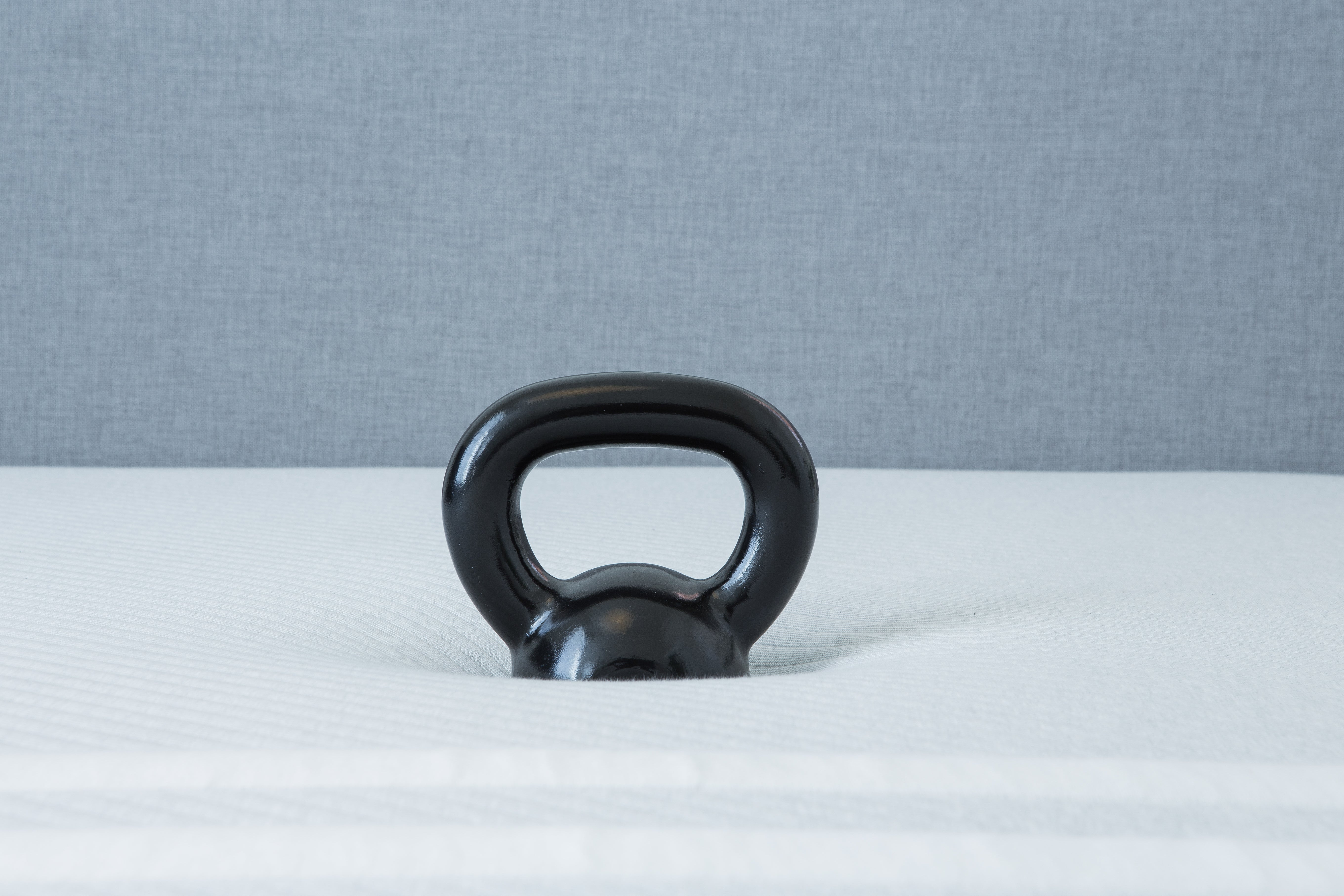Kettlebell on a Leesa mattress