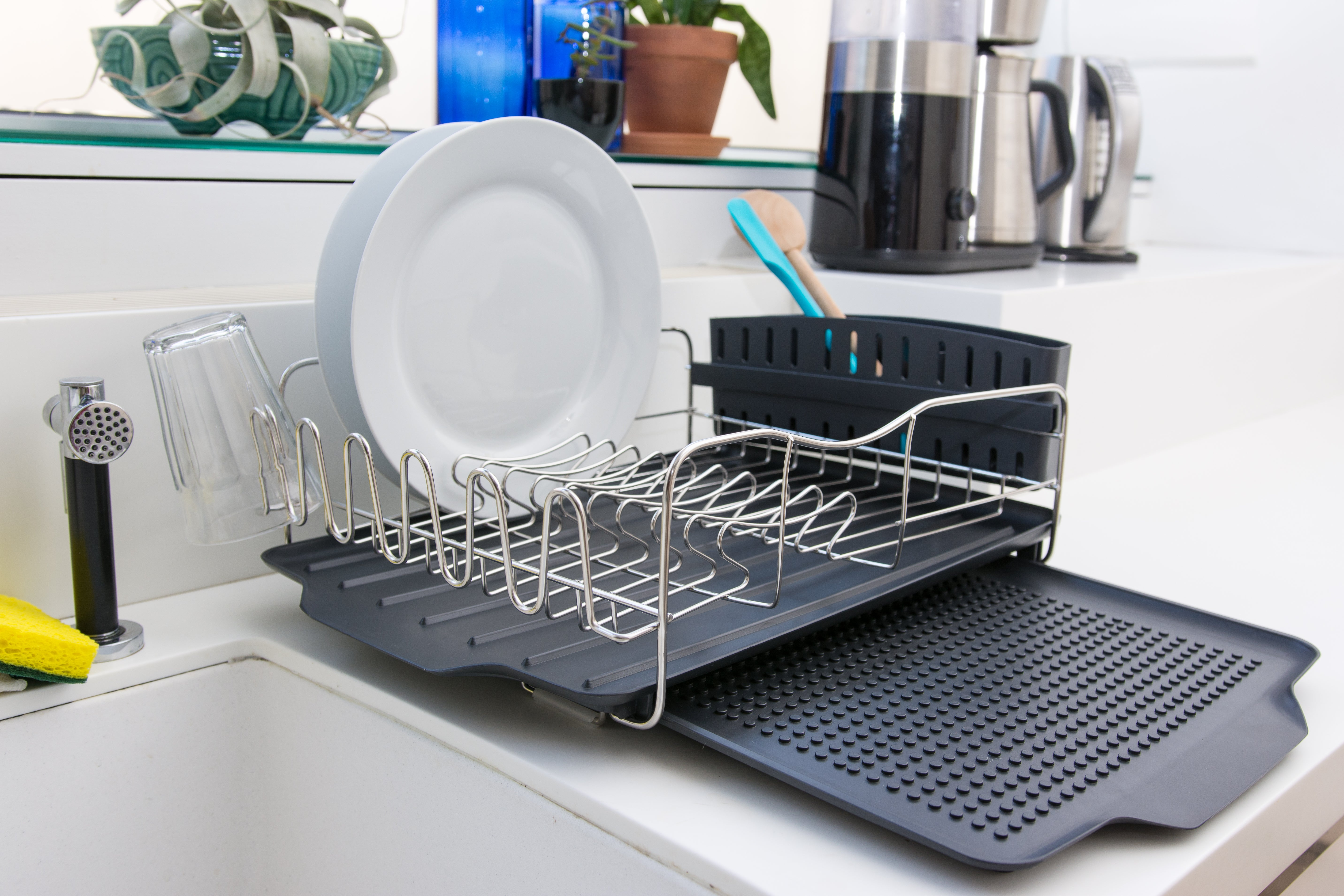 the Polder 4-Piece Advantage Dish Rack System with dishes