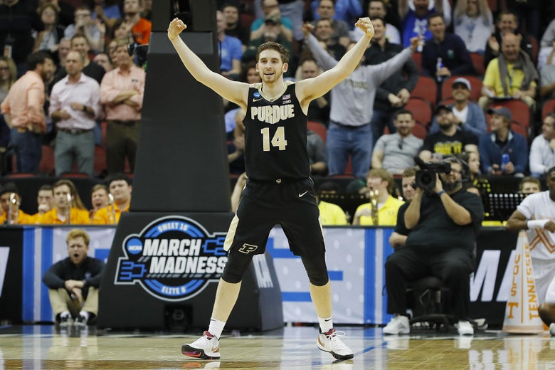LOUISVILLE, KENTUCKY - MARCH 28:  Ryan Cline #14 of the Purdue Boilermakers reacts after a three pointer against the Tennessee Volunteers during the second half of the 2019 NCAA Men's Basketball Tournament South Regional at the KFC YUM! Center on March 28, 2019 in Louisville, Kentucky. (Photo by Kevin C. Cox/Getty Images)