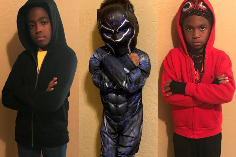 Lawrence Ware's children dressed as Luke Cage, Black Panther, and Miles Morales.