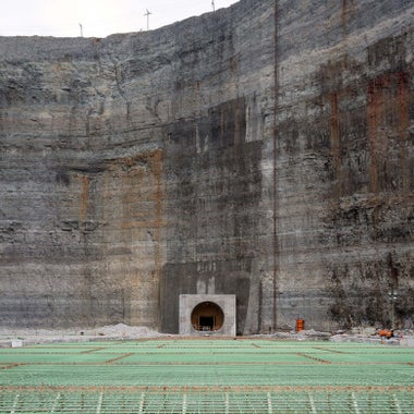 Construction nears completion where the Deep Tunnel accesses the Thornton Reservoir.