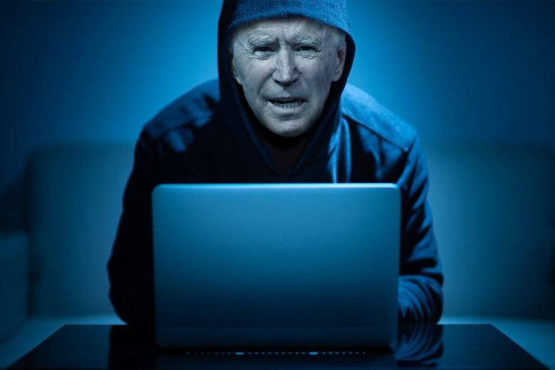 A manipulated photo of Joe Biden as a hacker in front of a laptop computer.
