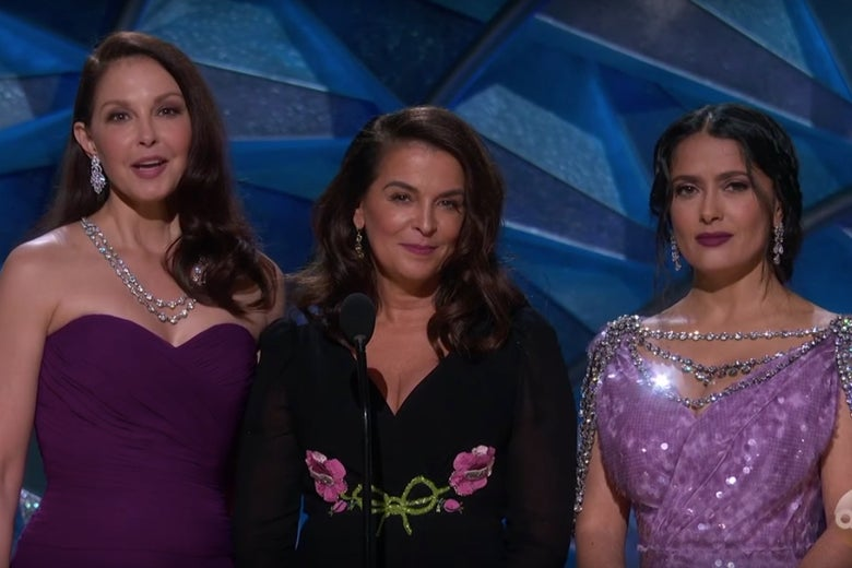 Ashley Judd, Annabella Sciorra, and Salma Hayek Pinault stood together on stage to present a tribute to Hollywood's newest voices.