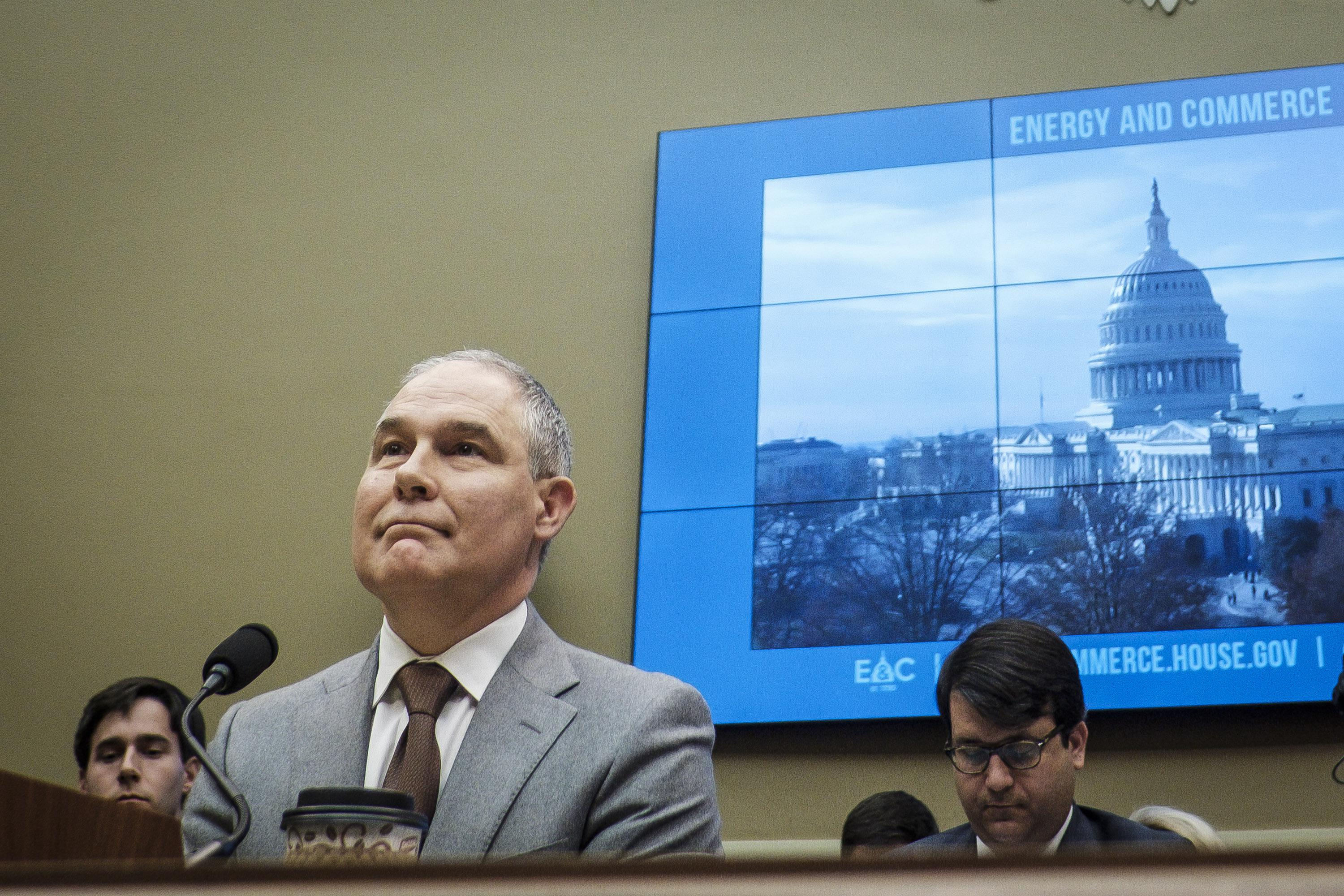 WASHINGTON, DC - DECEMBER 7:  Environmental Protection Agency Administrator Scott Pruitt testifies before the House Energy and Commerce Committee about the mission of the U.S. Environmental Protection Agency on December 7, 2017 in Washington, DC.  (Photo by Pete Marovich/Getty Images)