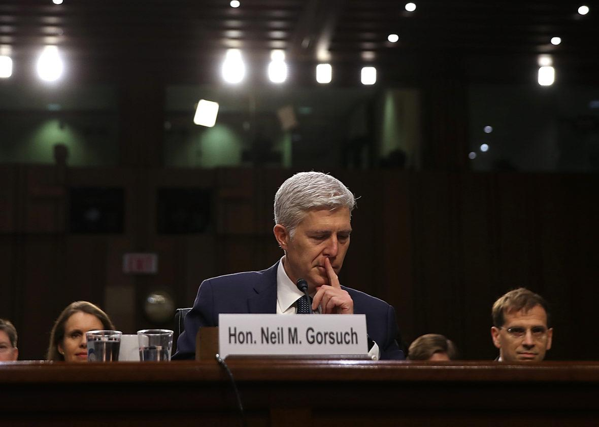 Judge Neil Gorsuch testifies during the third day of his Supreme Court confirmation hearing.