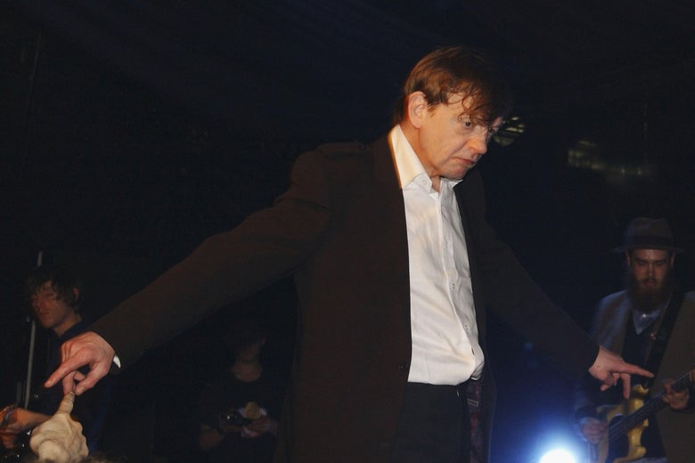 Mark E. Smith of the Fall performing at the Hammersmith Palais on April 1, 2007 in London.